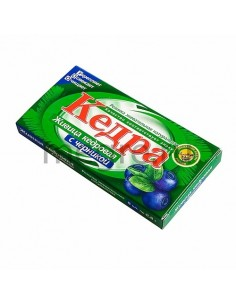 Kedra chewing gum with cedar resin and bilberries